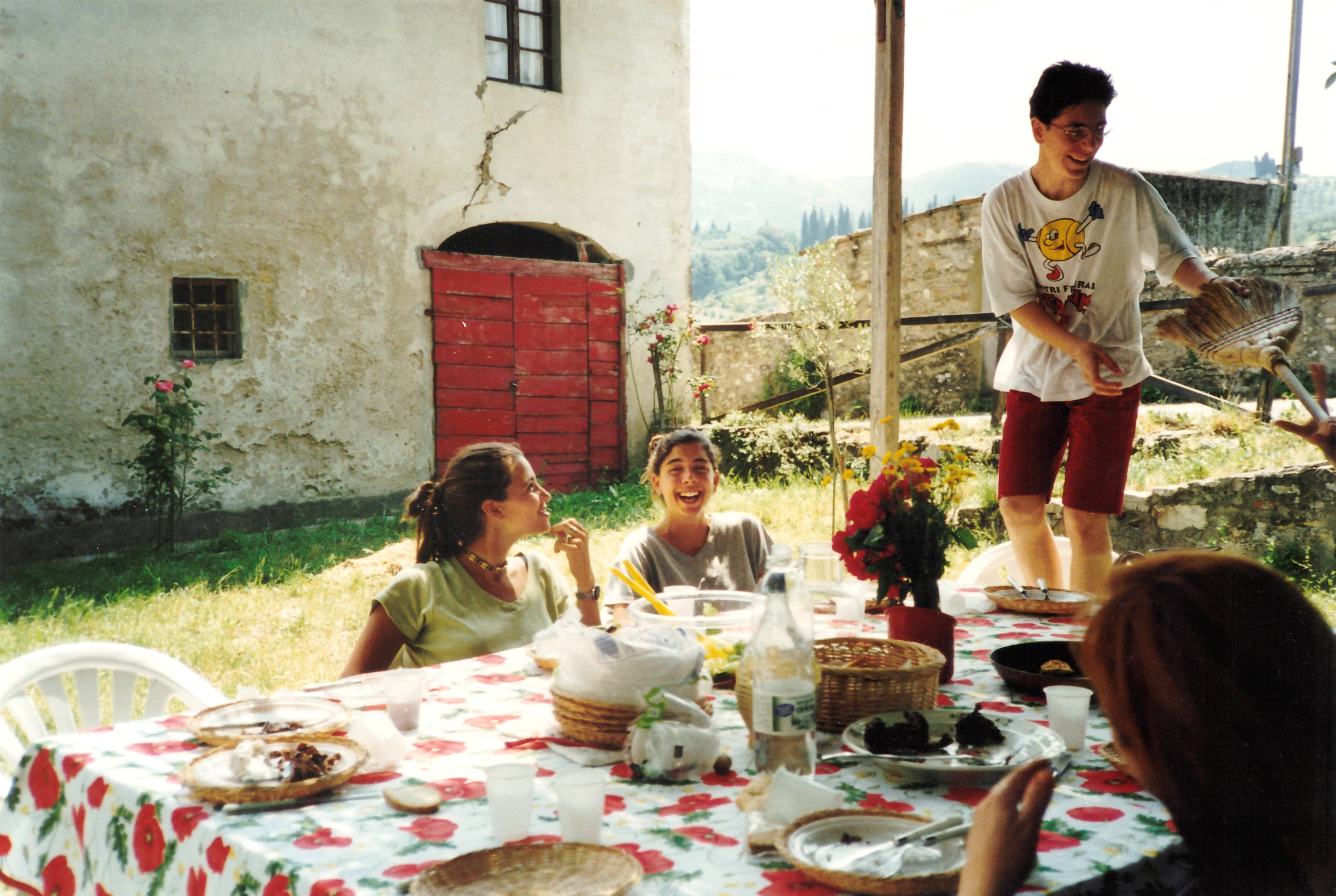 Melissa Saunders (center), founder of Communal Brands, in San Donato in Collina, 1990s